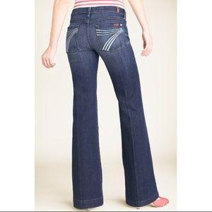7FAM Dojo Wide Leg Flare Jeans 7 Pockets 26x32